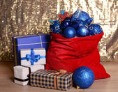Red bag with Christmas toys — Foto Stock