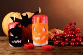 Composition of Halloween pumpkin and candle — Foto de Stock