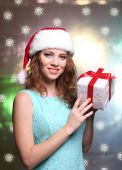 Portrait of beautiful young woman on bright background — Fotografia Stock