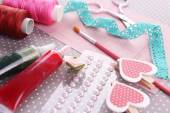 Scrapbooking craft materials on bright background — Foto Stock