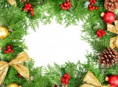 Beautiful Christmas border from fir and mistletoe on white background — Stock Photo