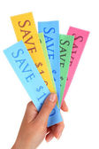 Set of coupons for shopping to save money — Stock Photo