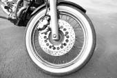 Motorcycle forks and tire, close-up — Foto Stock