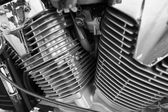 Motorcycle engine, metallic background with exhaust pipes  — Foto de Stock