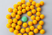 Individuality concept. Pills close-up — Stock Photo