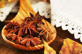 Stars anise in wooden spoon on table close up — Foto Stock