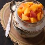 Yogurt with fresh peach — Stock Photo #56383009