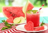 Watermelon cocktail on table — Foto Stock