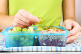 Woman making tasty vegetarian lunch, close up — Stock Photo