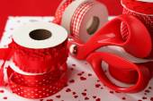 Ribbons with scissors close up — Stock Photo