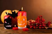 Composition of pumpkin, candle and Halloween decorations — Stockfoto