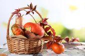 Pumpkins in wicker basket — Stock Photo