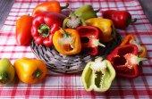 Pepper on wicker mat — Stock Photo