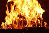 Bonfire at night on wall — Stock Photo