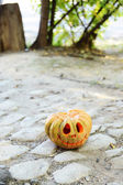 Pumpkin for holiday Halloween on paved road — Stock Photo