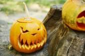Pumpkins for holiday Halloween on old tree stump — Stock Photo