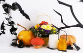 Halloween composition on fireplace — Stock Photo