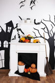 Halloween composition on fireplace — Stok fotoğraf