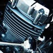 Motorcycle engine, metallic background with exhaust pipes  — Stock Photo #56526879