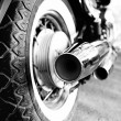 Close up shot of motorcycle exhaust pipes — Stock Photo #56526889