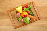Summer frame with fresh organic vegetables — Zdjęcie stockowe
