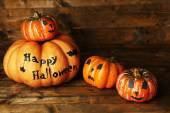 Halloween pumpkins on table — Foto de Stock