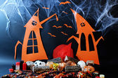 Halloween scenery on black background — Stock Photo