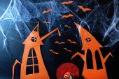 Halloween scenery on black background — Stock Photo
