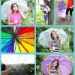 Umbrella concept. Beautiful young girl with umbrella collage — Stock Photo #56591435