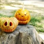 Pumpkins for holiday Halloween on old tree stump — Stock Photo #56596025