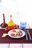 Fresh breakfast consisting of vegetable salad served on the table — Stock Photo