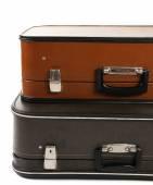 ヴィンテージ古い旅行スーツケース、白で隔離されます。 — ストック写真
