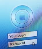 Login and password on monitor screen — Stock Photo