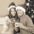 Nice love couple sitting with mugs in front of fireplace near Christmas tree. Woman and man celebrating Christmas — Stock Photo #56791297