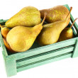 Ripe pears in wooden box isolated on white — Stock Photo #56859919