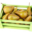 Ripe pears in wooden box isolated on white — Stock Photo #56859935