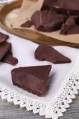 Cracked chocolate block — Stock Photo