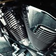 Motorcycle engine with exhaust pipes — Stock Photo #56863429