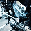 Motorcycle engine, metallic background with exhaust pipes — Stock Photo #56863445
