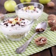 Oatmeal with yogurt in bowls, apples and walnuts — Stock Photo #56864051