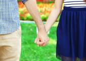 Loving couple holding hands — Foto Stock
