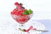Cherry granita in glass bowl — Stock Photo