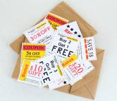 Set of cut coupons  for shopping — Stockfoto