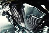 Motorcycle engine with exhaust pipes — Stock Photo