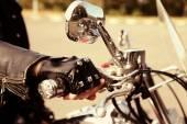 Hand rider on handlebars, close-up — Stock Photo