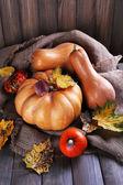 Pumpkins on sackcloth — Stock Photo