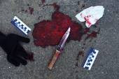 Bloody knife and evidence — Stock Photo