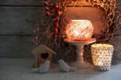 Christmas candlesticks and wreath — Stock Photo