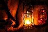 Lantern hanging on hook — Stock Photo