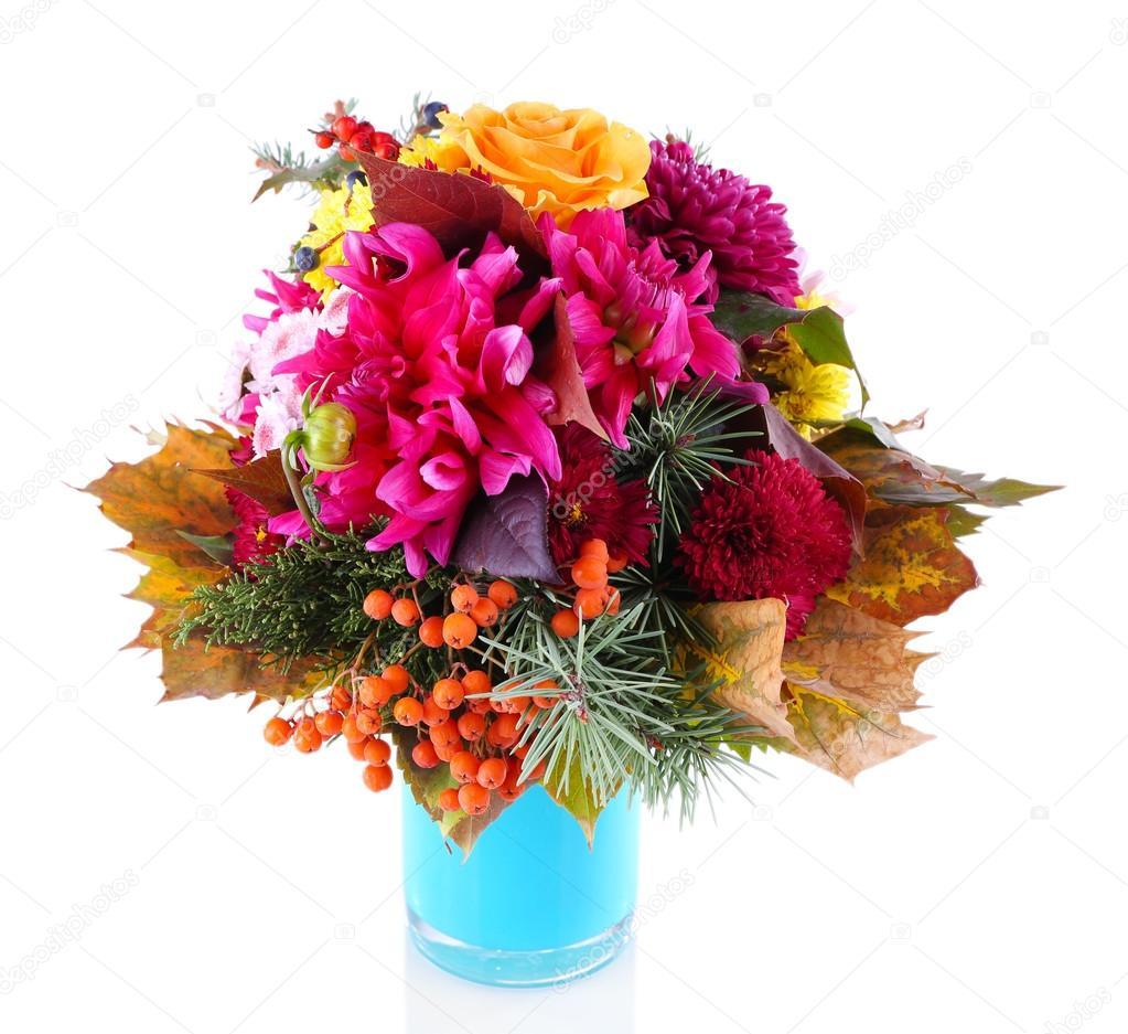 flower bouquet in blue vase